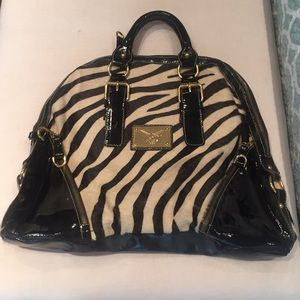 Guia's Italy top handle patent leather/zebra bag
